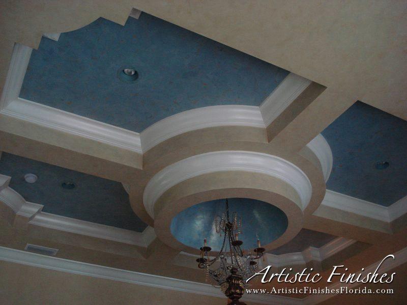 Two-tone Blue & Gold Veneitan Plaster Ceiling