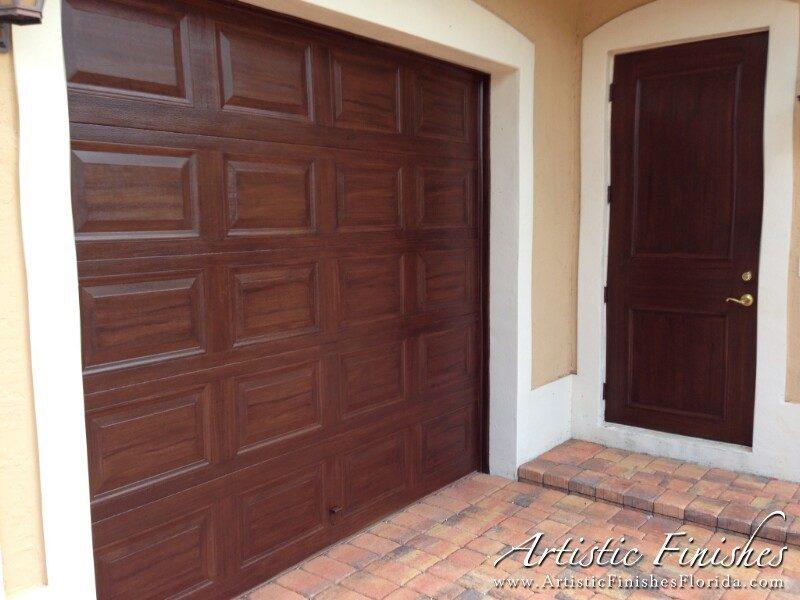 Faux Wood Garage Door & Front Door (After)